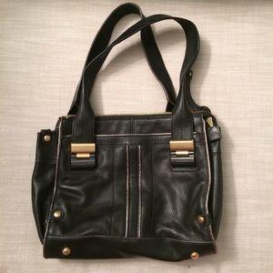 B Makowsky Black Leather Leopard Lining Handbag